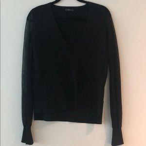 Zara Knit Sheer Sleeve Sweater in Black